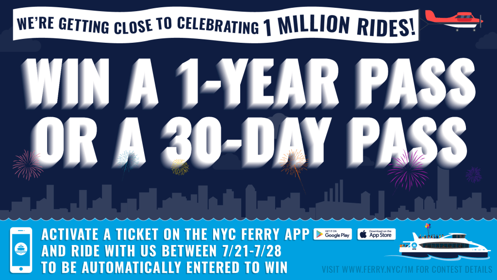 NYC Ferry 1 Million Riders Contest Promotional Graphic