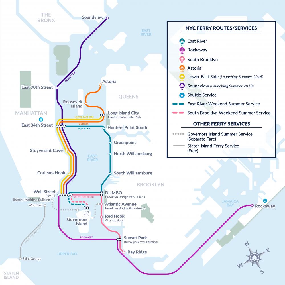 Karte Manhattan Pdf.2018 Nyc Ferry Route Map New York City Ferry Service