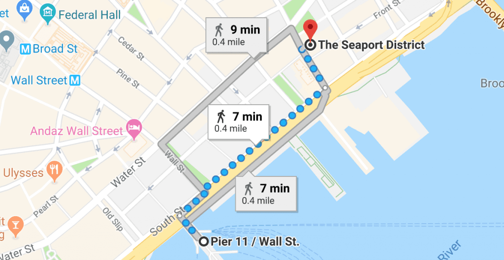 Google map image with directions to Deck the Stalls Holiday Market from the NYC Wall St, Pier 11. Click the map for more Directions