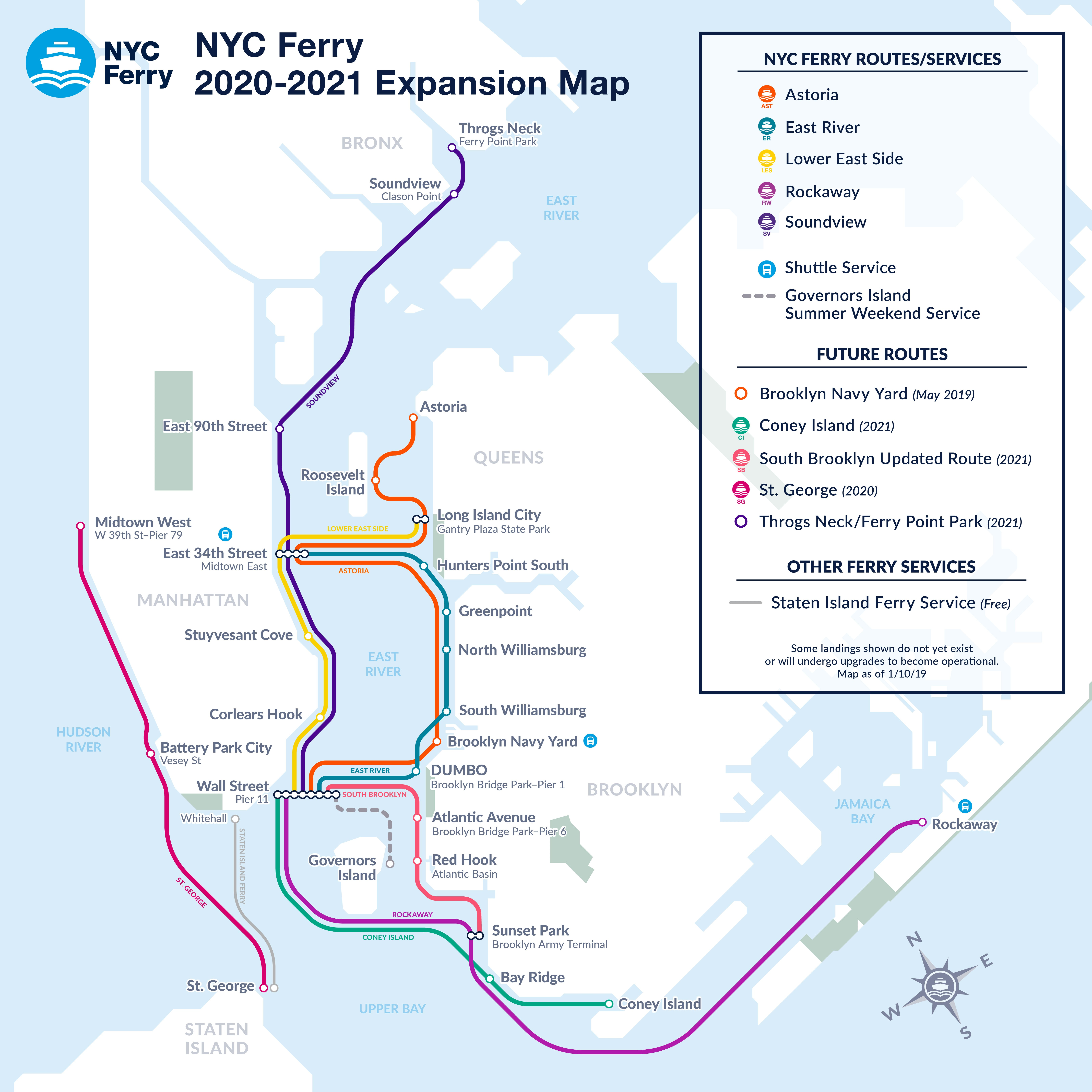 NYC Ferry Expansion Map End of 2021 - New York City Ferry ...